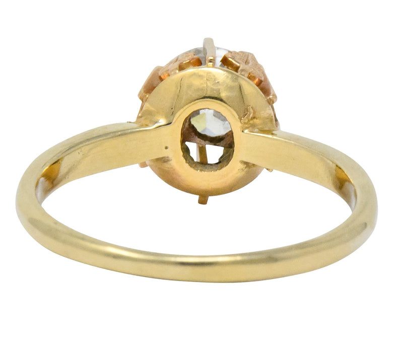 Victorian 0.70 CTW Diamond 14 Karat Two-Tone Gold Engagement Ring - Wilson's Estate Jewelry