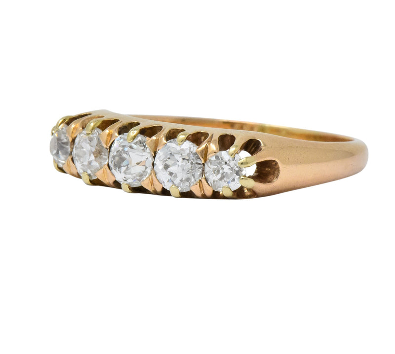 Victorian 0.75 CTW Diamond 14 Karat Gold Stackable Band Ring - Wilson's Estate Jewelry