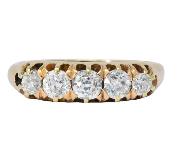 Victorian 0.75 CTW Diamond 14 Karat Gold Stackable Band Ring Ring