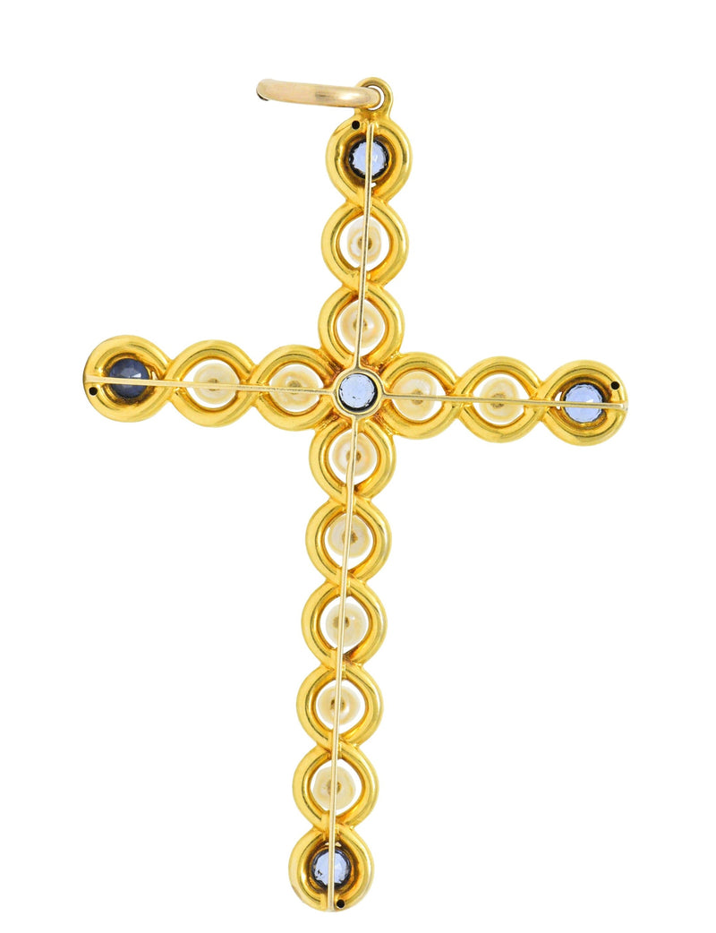 Victorian 1.00 CTW Sapphire Natural Pearl 14 Karat Gold Cross Pendant - Wilson's Estate Jewelry