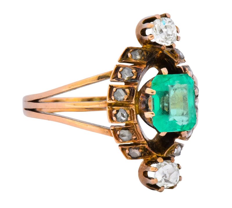 Victorian 1.25 CTW Emerald Diamond 14 Karat Rose Gold Halo Ring - Wilson's Estate Jewelry