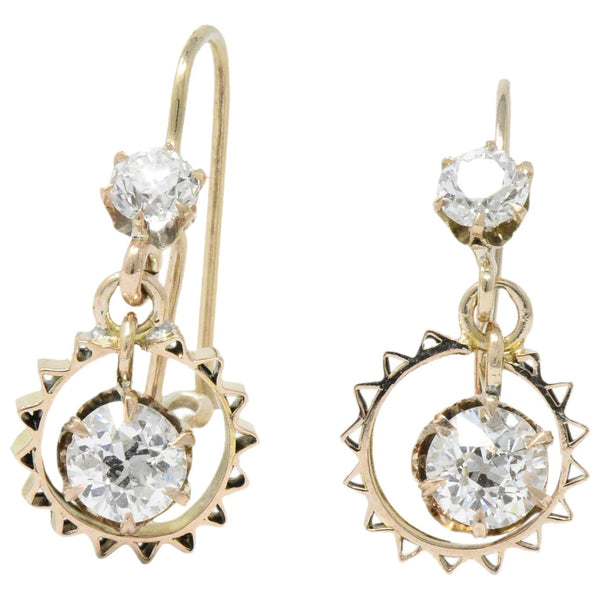 Victorian 1.30 CTW Diamond 14 Karat Rose Gold Drop Earrings - Wilson's Estate Jewelry