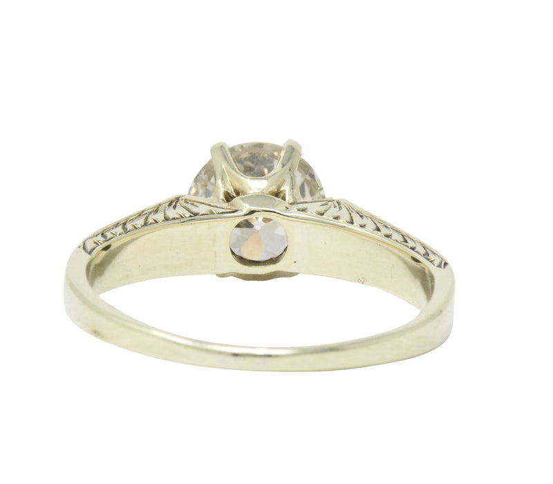 Victorian 1.32 CTW Diamond 14 Karat Gold Solitaire Engagement Ring Ring