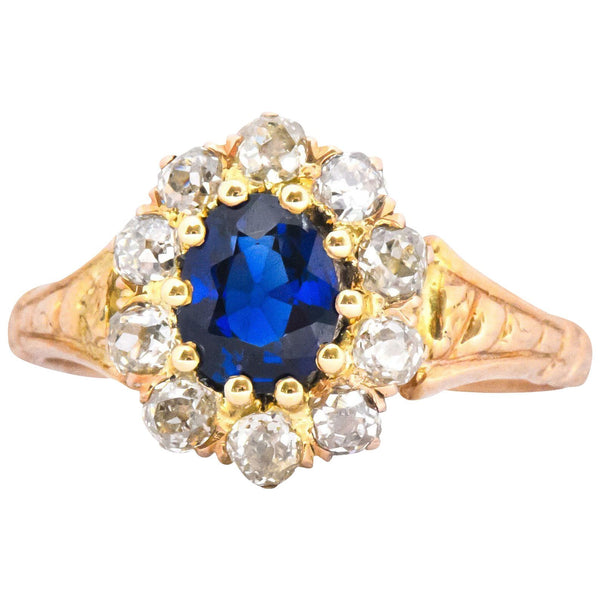 Victorian 1.57 CTW Sapphire Old Mine Cut Diamond 14 Karat Gold Cluster Ring Ring