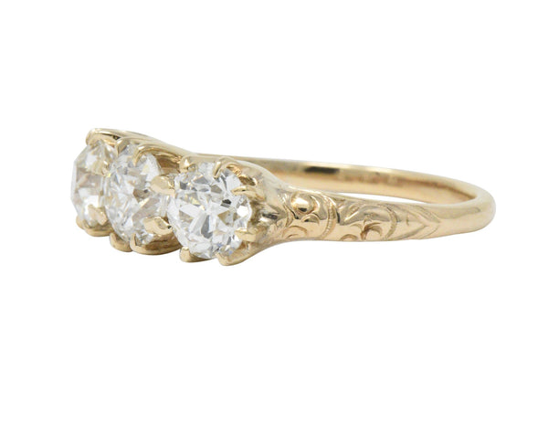 Victorian 1.65 CTW Diamond 14 Karat Gold Three Stone Ring Ring