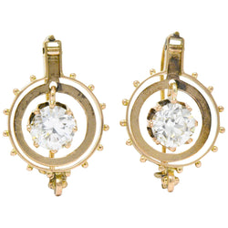 Victorian 1.95 CTW Diamond 14 Karat Rose Gold Drop Earrings GIA - Wilson's Estate Jewelry