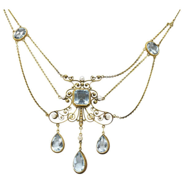 Victorian 10.00 CTW Aquamarine Seed Pearl 14 Karat Gold Swag Necklace - Wilson's Estate Jewelry