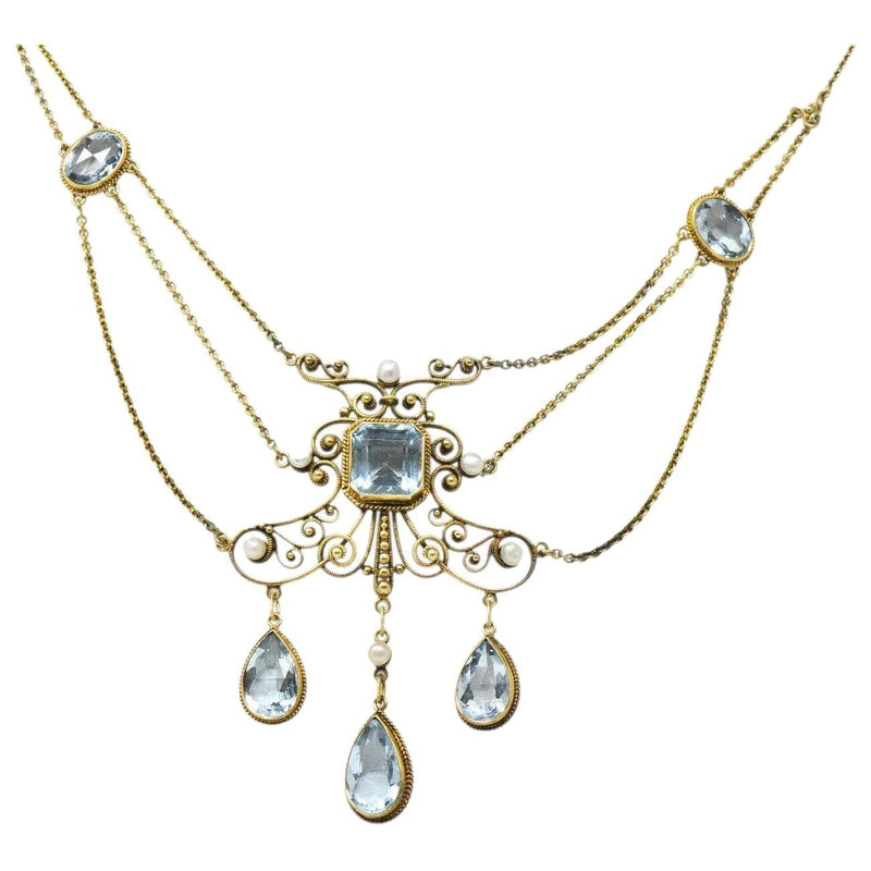 Victorian 10.00 CTW Aquamarine Seed Pearl 14 Karat Gold Swag Necklace Necklace