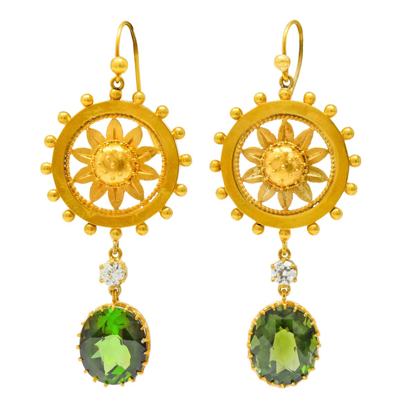 Victorian 10.36 CTW Tourmaline Diamond 14 Karat Gold Floral Drop Earrings Earrings diamond old european out-of-stock Tourmaline Victorian