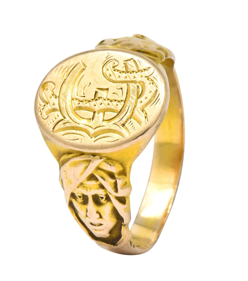 Victorian 14 Karat Gold Cloaked Wise Man Unisex Signet Ring - Wilson's Estate Jewelry