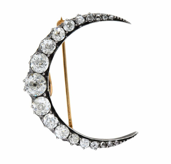 Victorian 2.00 CTW Diamond Silver-Topped 14 Karat Gold Honeymoon Crescent Pendant Brooch Brooch