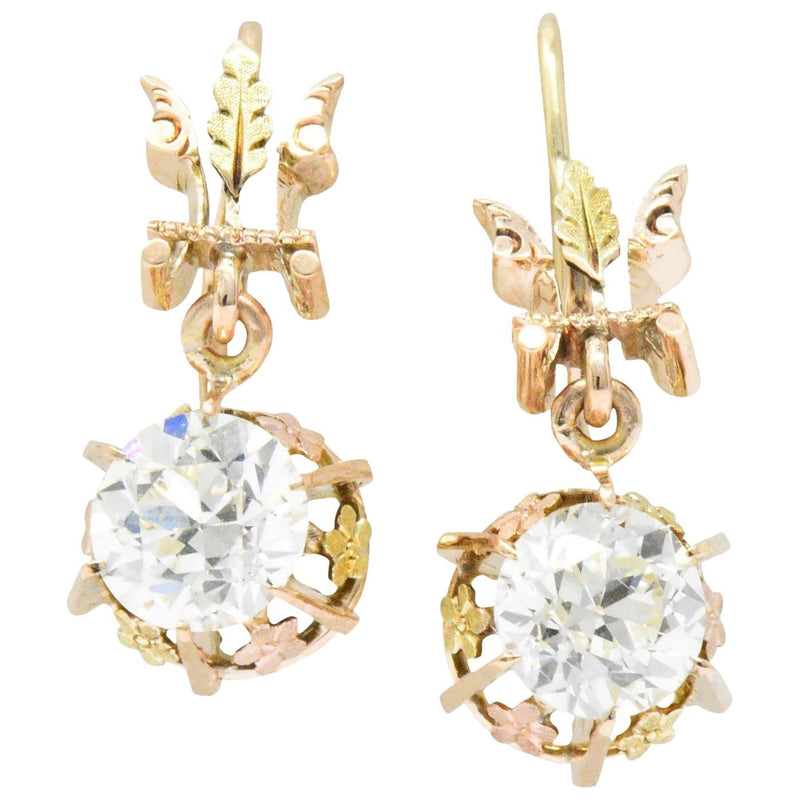 Victorian 2.10 CTW Diamond 14 Karat Two-Tone Gold Drop Earrings - Wilson's Estate Jewelry