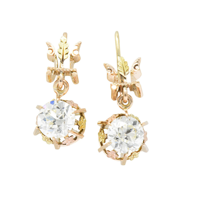 Victorian 2.10 CTW Diamond 14 Karat Two-Tone Gold Drop Earrings Earrings
