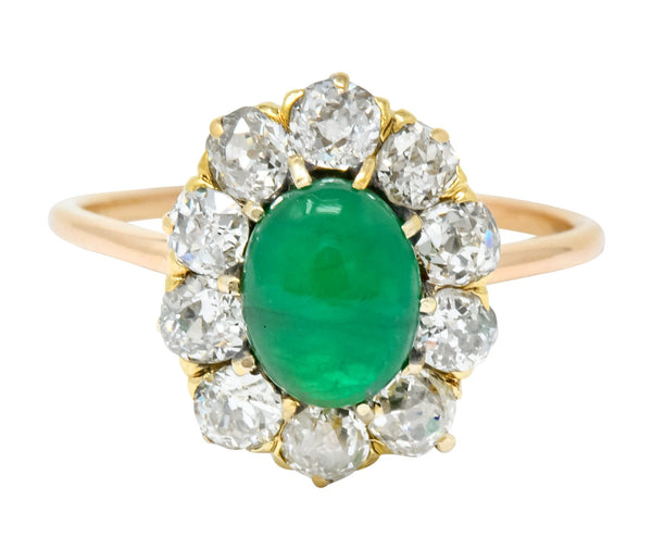Victorian 2.10 CTW Emerald Diamond 14 Karat Gold Cluster Ring Ring cluster Diamond emerald old european Old European Cut