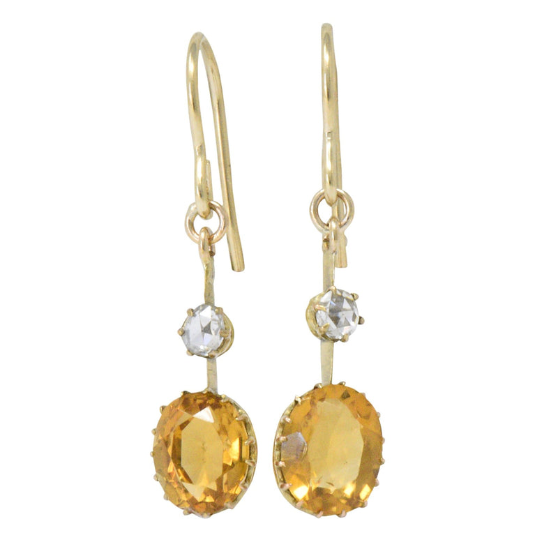 Victorian 2.45 CTW Citrine Diamond 14 Karat Gold Drop Earrings - Wilson's Estate Jewelry