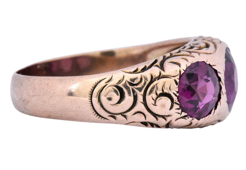 Victorian 3.10 CTW Almandine Garnet 10 Karat Rose Gold Three Stone Band Ring - Wilson's Estate Jewelry