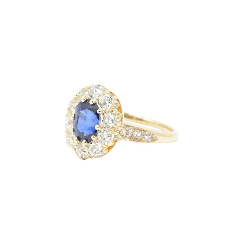 Victorian 3.16 CTW Old Mine Diamond & Sapphire Cluster 14K Gold Alternative Engagement Ring Ring