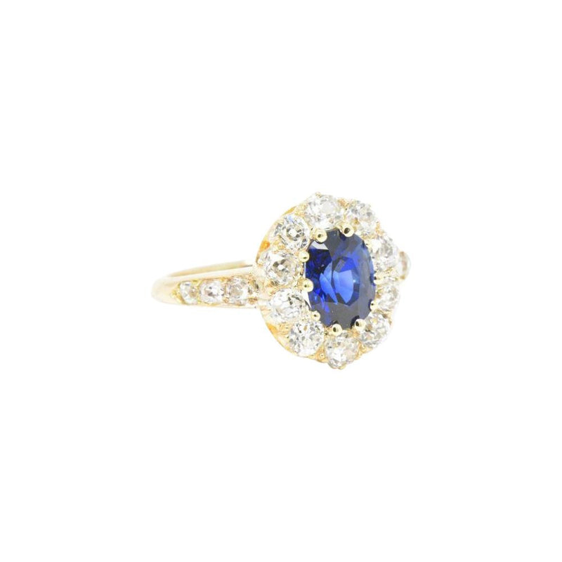 Victorian 3.16 CTW Old Mine Diamond & Sapphire Cluster 14K Gold Alternative Engagement Ring - Wilson's Estate Jewelry