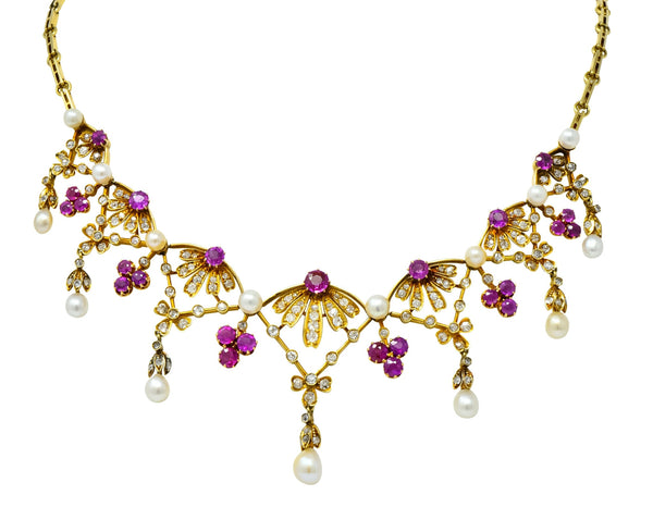 Victorian 7.95 CTW Diamond Ruby Pearl 18 Karat Gold Fringe Necklace Necklace