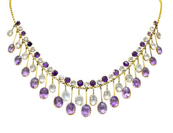 Victorian Aquamarine Amethyst 12 Karat Gold Fringe Necklace - Wilson's Estate Jewelry