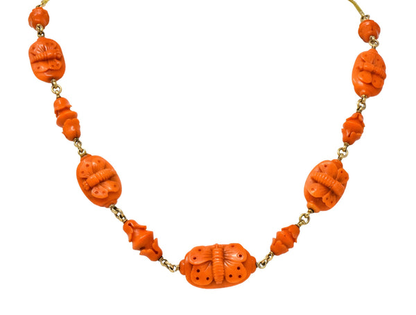 Victorian Carved Butterfly & Scarab Coral 14 Karat Gold Necklace Necklace