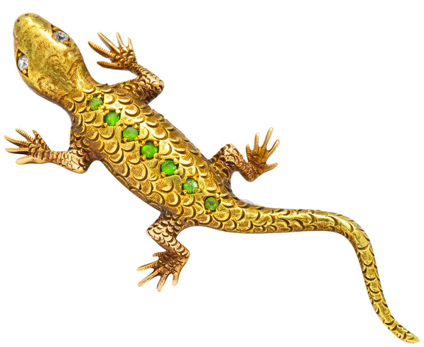 Victorian Demantoid Garnet Diamond 14 Karat Gold Lizard Brooch Brooch