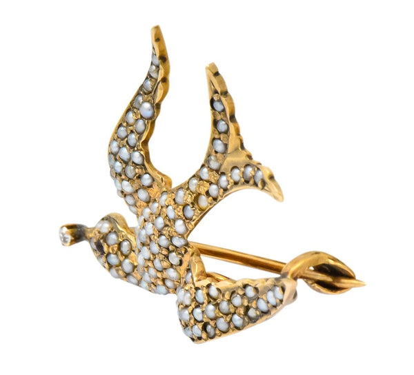 Victorian Diamond Garnet Seed Pearl Swallow Bird 14 Karat Gold Brooch Brooch
