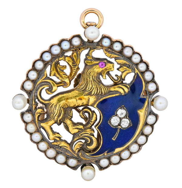 Victorian Diamond Pearl Ruby Enamel Stylized Lion Pendant Pin Necklace
