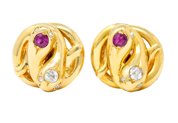 Victorian Diamond Ruby 18 Karat Yellow Gold Winding Snake Stud Earrings Earrings
