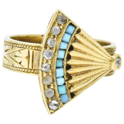 Victorian Diamond Turquoise 14 Karat Gold Ornate Fan Ring - Wilson's Estate Jewelry