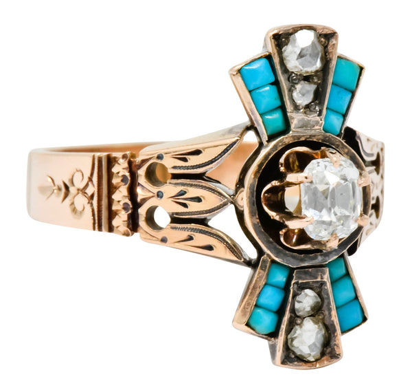 Victorian Diamond Turquoise 14 Karat Rose Gold Statement Ring Ring diamond Dinner Ring Etruscan Revival rose cut turquoise