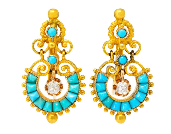 Victorian Diamond Turquoise 18 Karat Gold Drop Earrings Earrings