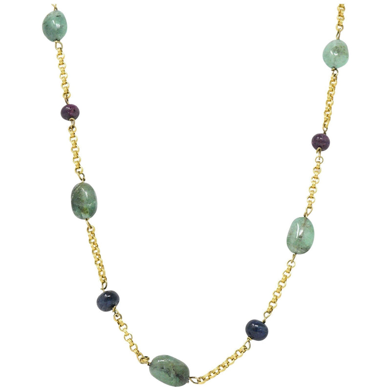 Victorian Emerald Sapphire Ruby 14 Karat Gold 27 Inch Station Necklace - Wilson's Estate Jewelry