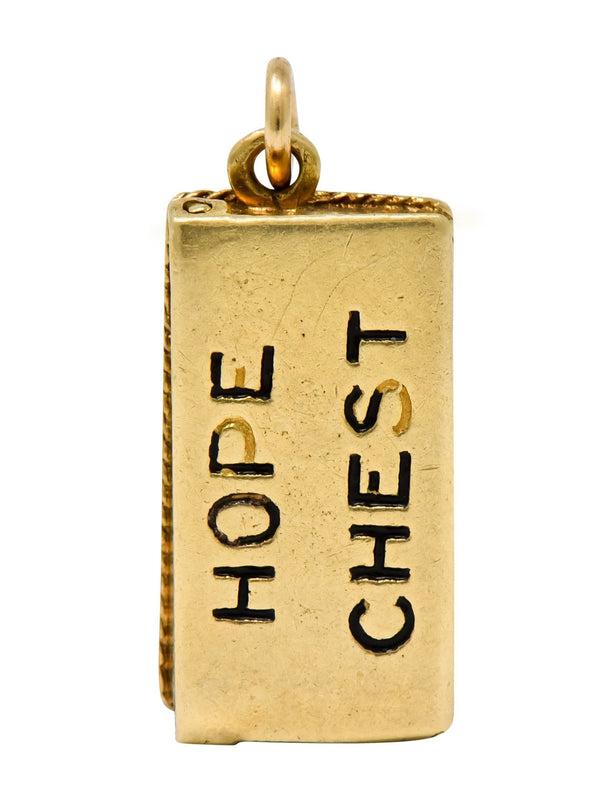 Victorian Enamel 14 Karat Gold Cheeky Figure In Hope Chest Charm - Wilson's Estate Jewelry