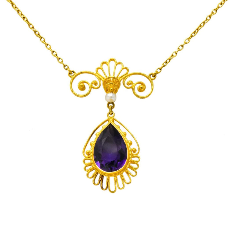 Victorian Etruscan Revival 3.50 CTW Amethyst Pearl 14 Karat Gold Necklace - Wilson's Estate Jewelry
