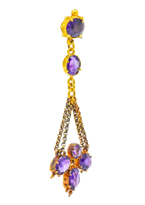 Victorian Etruscan Revival 4.52 CTW Amethyst 18 Karat Gold Chandelier Earrings Circa 1870s Earrings