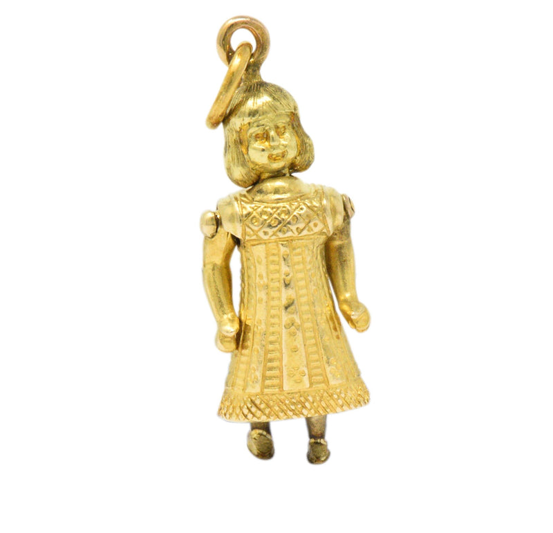 Victorian French 18 Karat Gold Articulate Girl in Fancy Dress Charm - Wilson's Estate Jewelry
