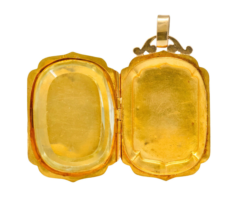 Victorian French Glass 18 Karat Two-Tone Gold Locket Pendant Necklace Victorian