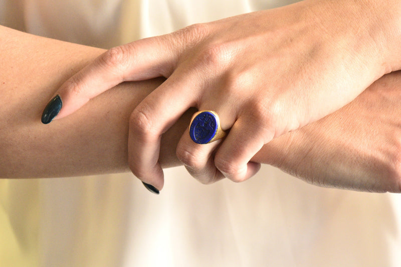 Victorian French Lapis Lazuli Intaglio 18 Karat Gold Signet Ring - Wilson's Estate Jewelry