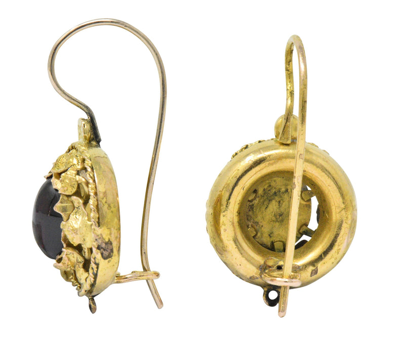 Victorian Garnet 14 Karat Gold Hook Earrings - Wilson's Estate Jewelry