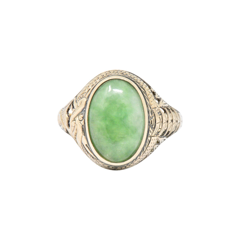 Victorian Jade & 14K Yellow Gold Ring S. Komai - Wilson's Estate Jewelry