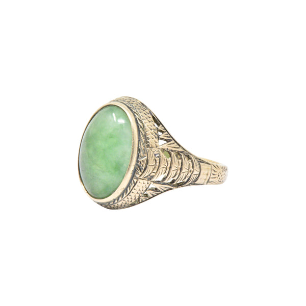 Victorian Jade & 14K Yellow Gold Ring S. Komai Ring Victorian