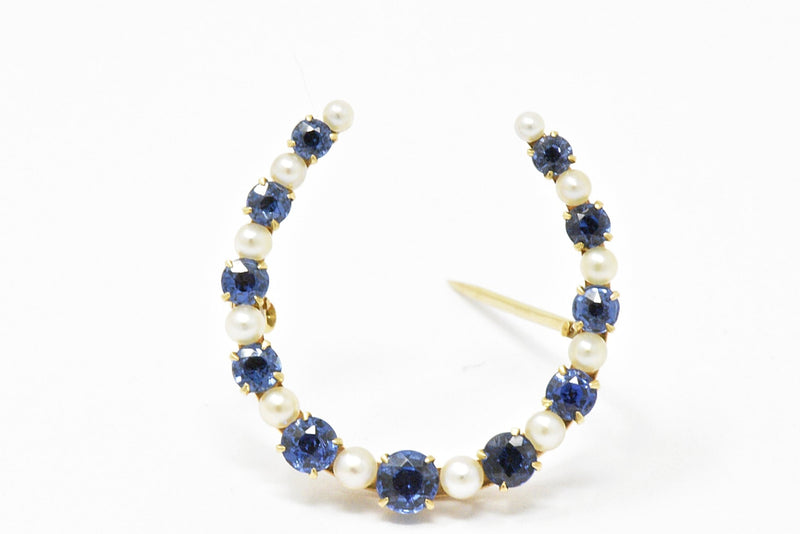 Victorian Montana Sapphire and Natural Pearl 14K Yellow Gold Horseshoe Pin Brooch Brooch out-of-stock Victorian