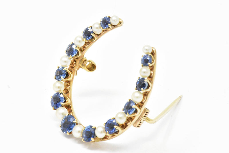 Victorian Montana Sapphire and Natural Pearl 14K Yellow Gold Horseshoe Pin Brooch Pin