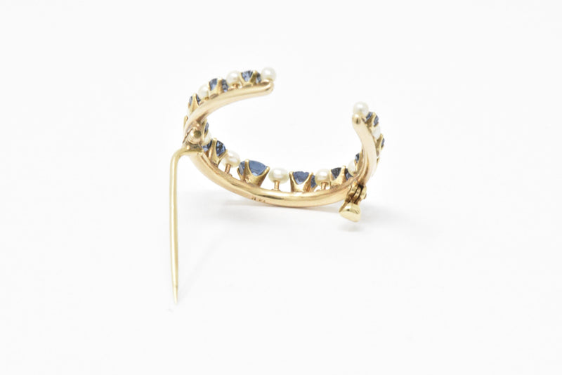 Victorian Montana Sapphire and Natural Pearl 14K Yellow Gold Horseshoe Pin Brooch - Wilson's Estate Jewelry