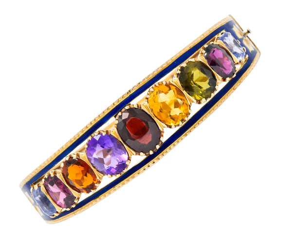 Victorian Multi-Gem Sapphire Citrine Enamel 14 Karat Gold Bangle Bracelet Circa 1880 - Wilson's Estate Jewelry