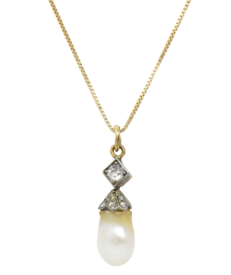 Victorian Natural Baroque Pearl Diamond Silver-Topped 14 Karat Gold Pendant Necklace - Wilson's Estate Jewelry