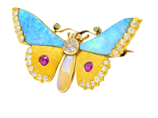 Victorian Opal Diamond Ruby Demantoid Garnet 14 Karat Gold Butterfly Brooch Brooch