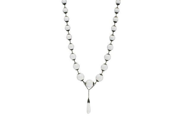 Victorian Pools Of Light Crystal & Silver Drop Necklace Circa 1880 Necklace out-of-stock Victorian