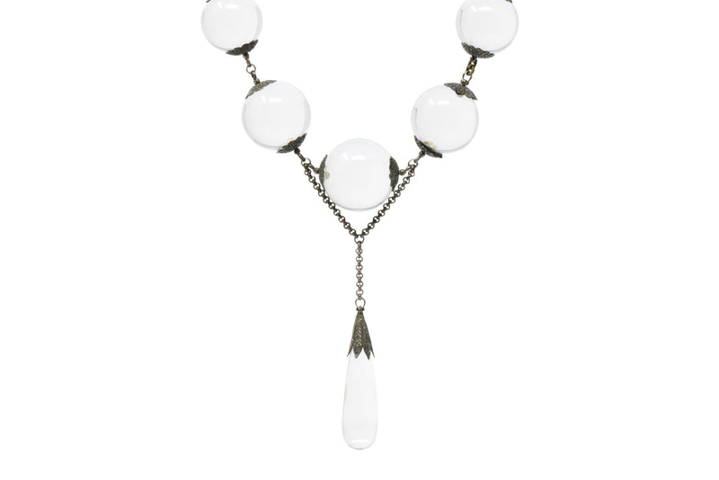 "Victorian ""Pools Of Light"" Crystal & Silver Drop Necklace Circa 1880 - Wilson's Estate Jewelry"